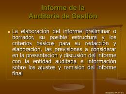 Informe de la Auditoría de Gestión