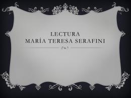 LECTURA MARÍA TERESA SERAFINI