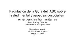 Facilitación de la Guía del IASC Perú: Pisco y