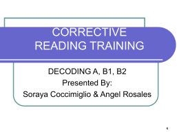 CORRECTIVE READING TRAINING