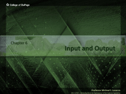 Input and Output - College of DuPage
