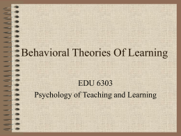 Behavioral Theories Of Learning - Winston