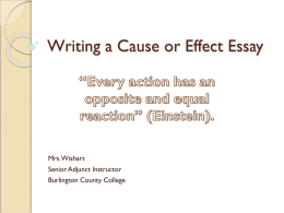 Writing a Cause or Effect Essay