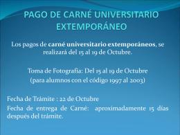 Pago de Carné Universitario extemporáneo