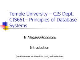 Temple University – CIS Dept. CIS661 – Principles