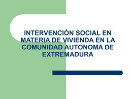 CRITERIOS DE INTERVENCIÓN EN MATERIA DE VIVIENDA