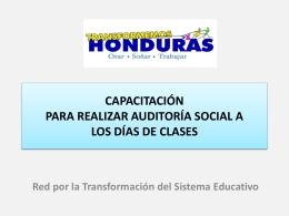 CAPACITACIÓN PARA REALIZAR AUDITORÍA SOCIAL A LOS