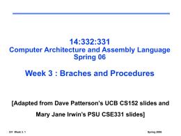 CSE 331. Computer Organization