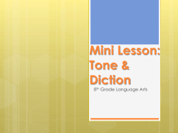 Mini Lesson: Tone & Diction