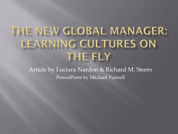 The New Global Manager: Learning Cultures on the