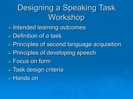 Designing a Speaking Task