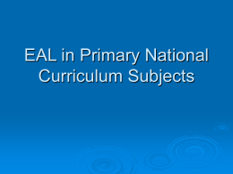EAL in Primary National Curriculum Subjects -