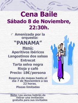 Cena Baile de Carnaval Sábado 9 de Febrero,