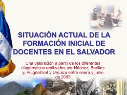 SITUACIÓN ACTUAL DE LA FORMACIÓN INICIAL DE