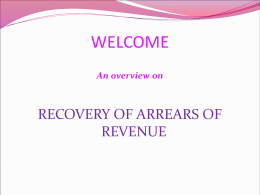 RECOVERY OF ARREARS OF REVENUE