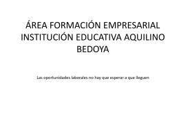 ÁREA FORMACIÓN EMPRESARIAL INSTITUCIÓN EDUCATIVA