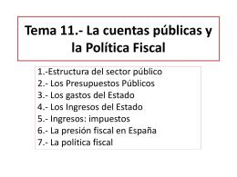 Tema 11.- La cuentas públicas y la Política Fiscal