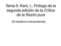 Tema 5: Kant, I., Prólogo de la segunda edición de