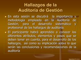 Hallazgos de la Auditoría de Gestión