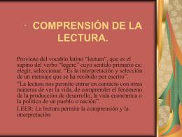 COMPRESIÓN DE LA LECTURA.