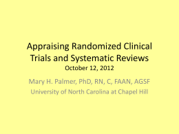 Appraising Randomized Clincial Trials and