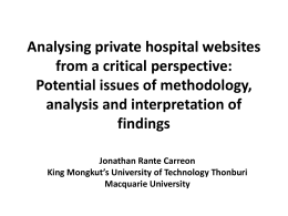Analysing private hospital websites from a