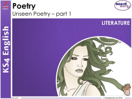 Poetry Unseen Poetry – part 1