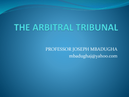THE ARBITRAL TRIBUNAL