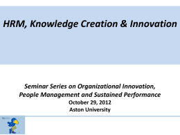 HRM, Knowledge Creation & Innovation