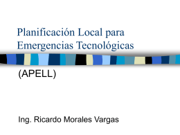 Planificación Local para Emergencias Tecnológicas