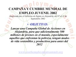 CAMPAÑA Y CUMBRE MUNDIAL DE EMPLEO JUVENIL 2002