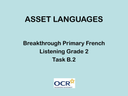 ASSET LANGUAGES Breakthrough Grade 2 Task B.2