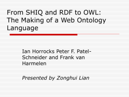 Ontology Languages - Brigham Young University