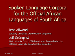 Spoken Language Corpora for the Official African