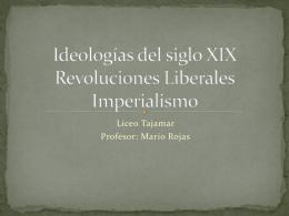 Ideologías del siglo XIX Revoluciones Liberales