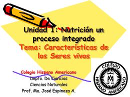 Unidad 1: Nutrición un proceso integrado Tema