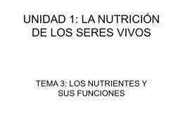 UNIDAD 1: LA NUTRICIÓN DE LOS SERES VIVOS