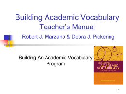 Building Academic Vocabulary Teacher's Manual