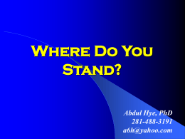 Where do we stand? - Prophet Muhammad (S.A.W.) for
