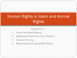Human Rights in Islam and Animal Rights -
