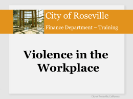 WORKPLACE VIOLENCE PREVENTION SERIES