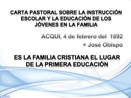 CARTA PASTORAL SOBRE LA INSTRUCCIÓN ESCOLAR Y LA
