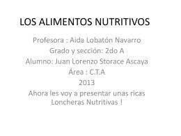 LOS ALIMENTOS NUTRITIVOS - Inicio