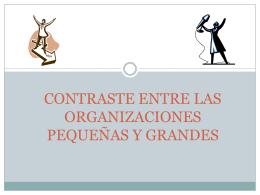 CONTRASTE ENTRE LAS ORGANIZACIONES PEQUEÑAS Y