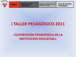 I TALLER PEDAGÓGICO 2011
