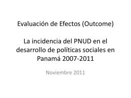EVALUACIÓN DE UNDAF EN PANAMÁ 2007-2011