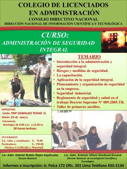 CURSO: ADMINISTRACIÓN DE SEGURIDAD INTEGRAL