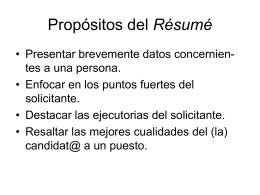 El Résumé - Profa. María L. Moctezuma | Blog