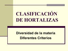 CLASIFICACIÓN DE HORTALIZAS