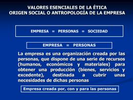 VALORES ESENCIALES DE LA ÉTICA ORIGEN SOCIAL O